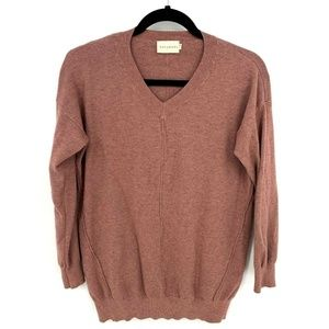 Dreamers Heather Berry V Neck Exposed Seam Sweater